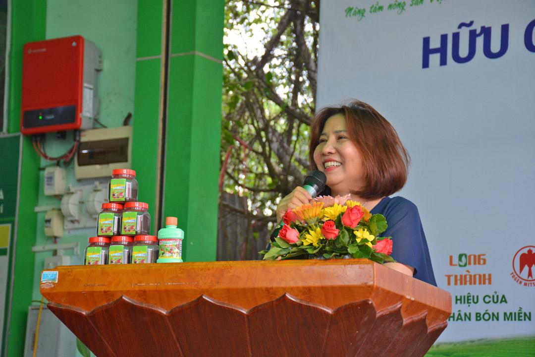 Bà Trần Thị Thanh Phong - Cố Vấn Cấp Cao của Công Ty Cổ Phần Phân Bón Miền Nam, cũng có phát biểu chia sẻ về sản phẩm cũng như về sự hợp tác của hai Công ty.