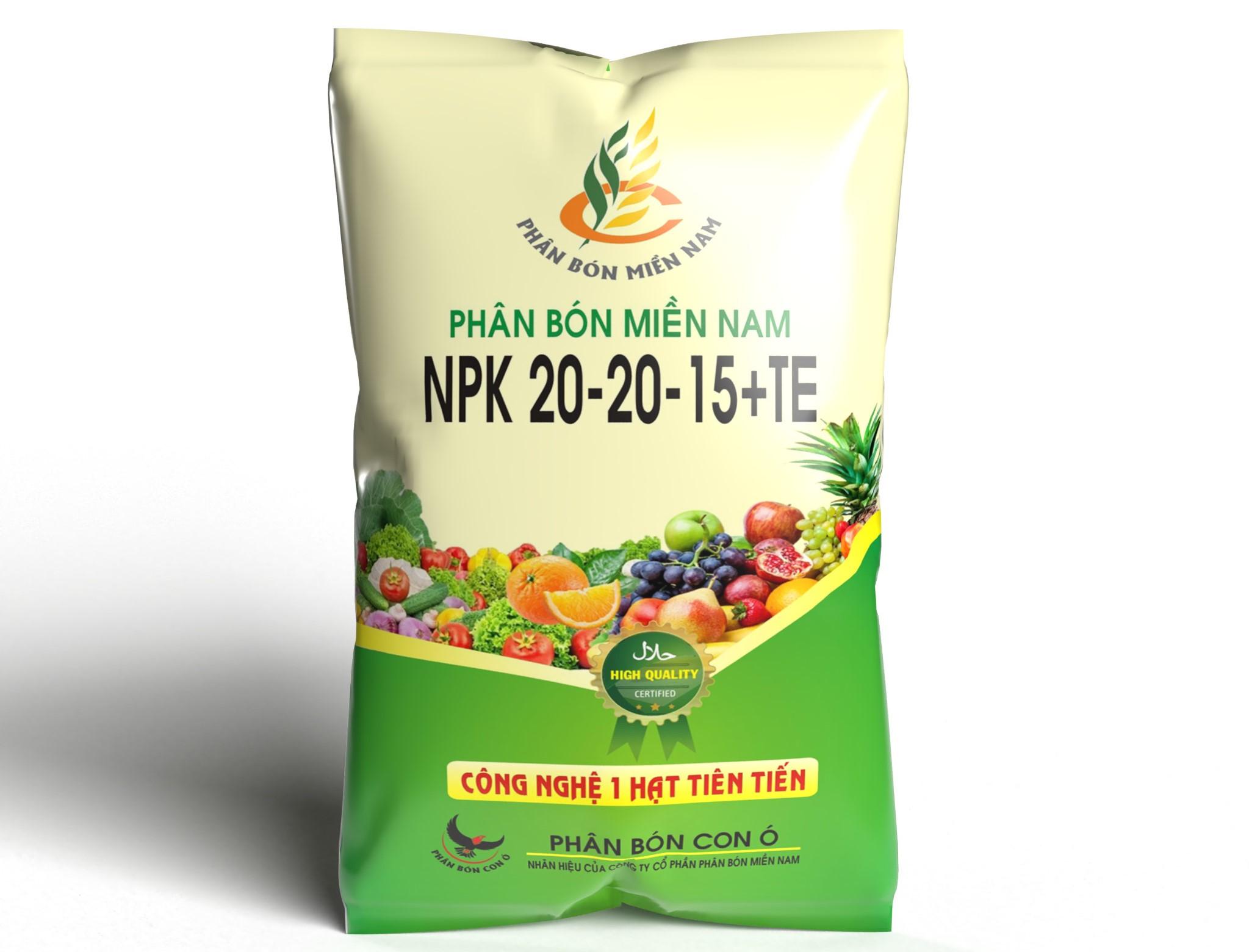 Phân bón Miền Nam NPK 20-20-15+TE (dạng 1 hạt) hiệu quả trong việc tăng nhanh bộ rễ chùm và cung cấp dinh dưỡng đa lượng cho cây